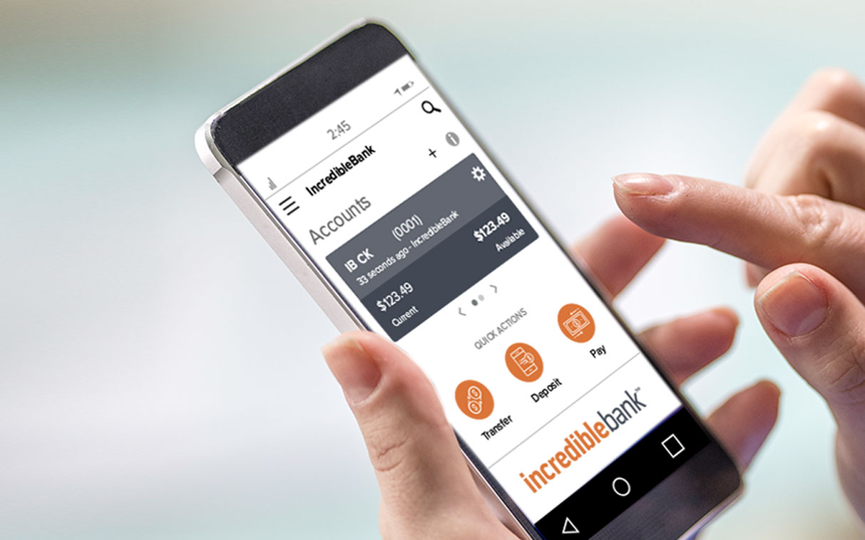 IncredibleBank mobile app shown on a mobile device