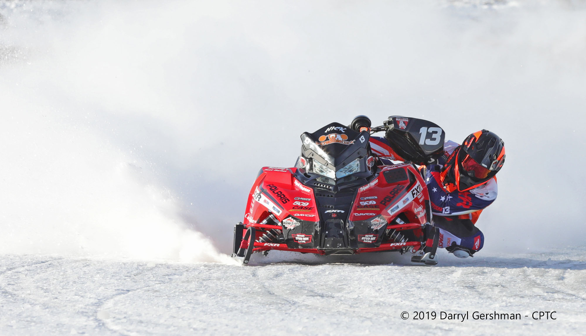snowmobile racer taking a corner