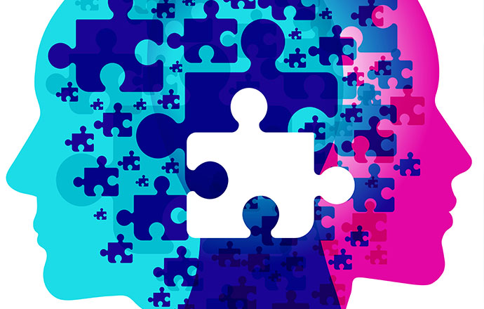 dementia and mental health puzzle illustration