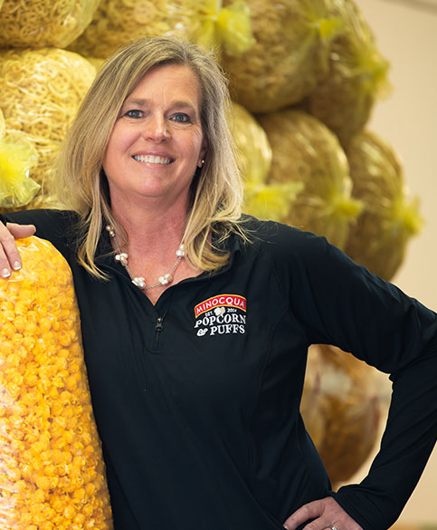female business owner of a popcorn shop